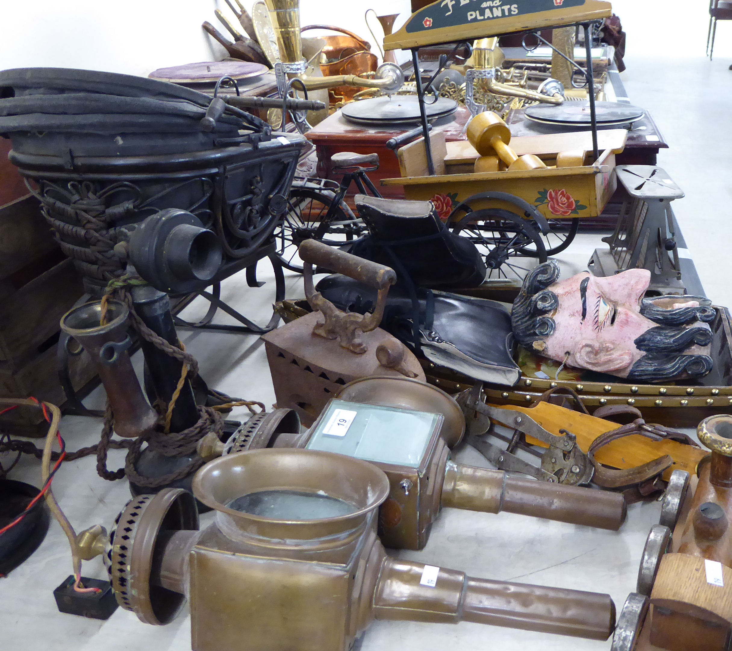 Lot 19 - Victorian and later collectables: to include coaching lamps and telephones BSR