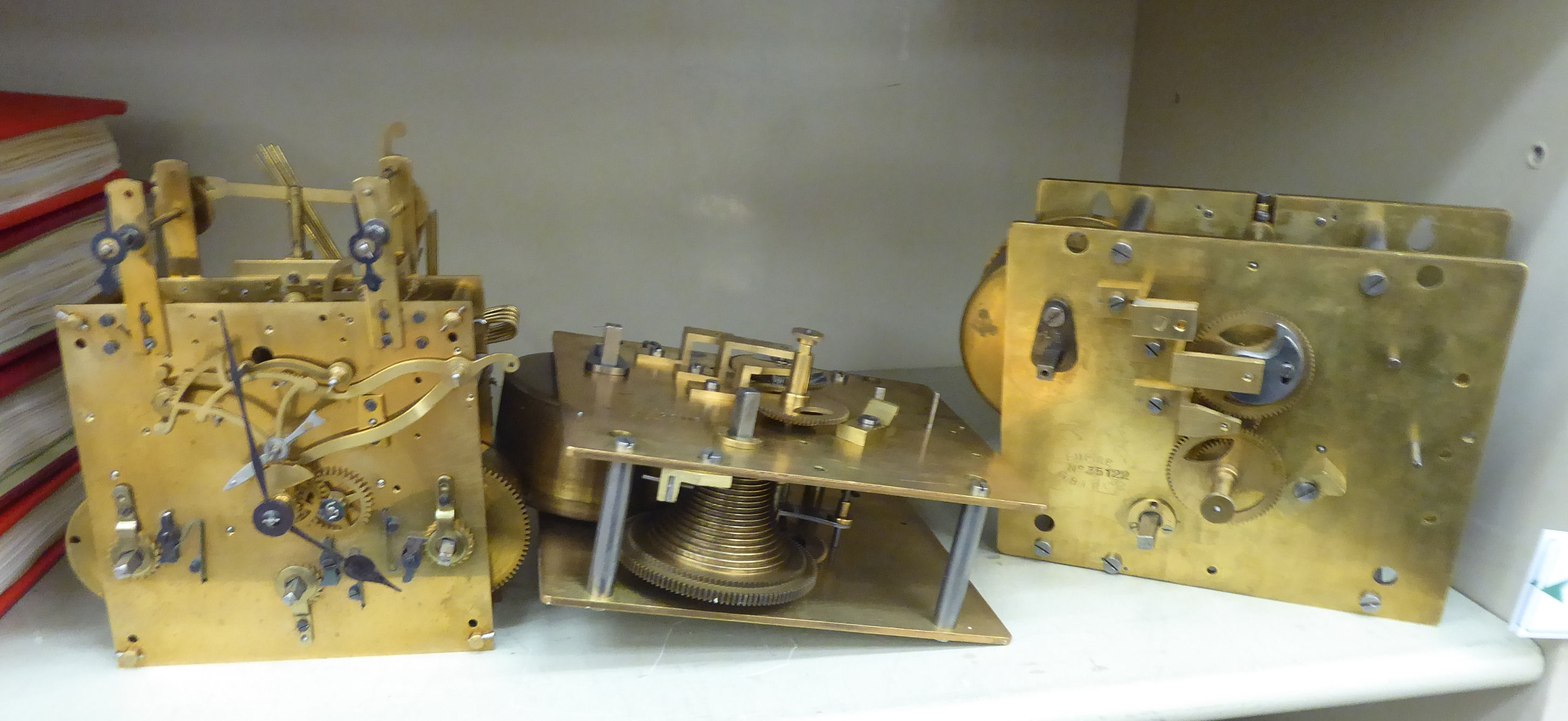Lot 59 - Three late 19th/early 20thC clock movements: to include an 8 day example OS3