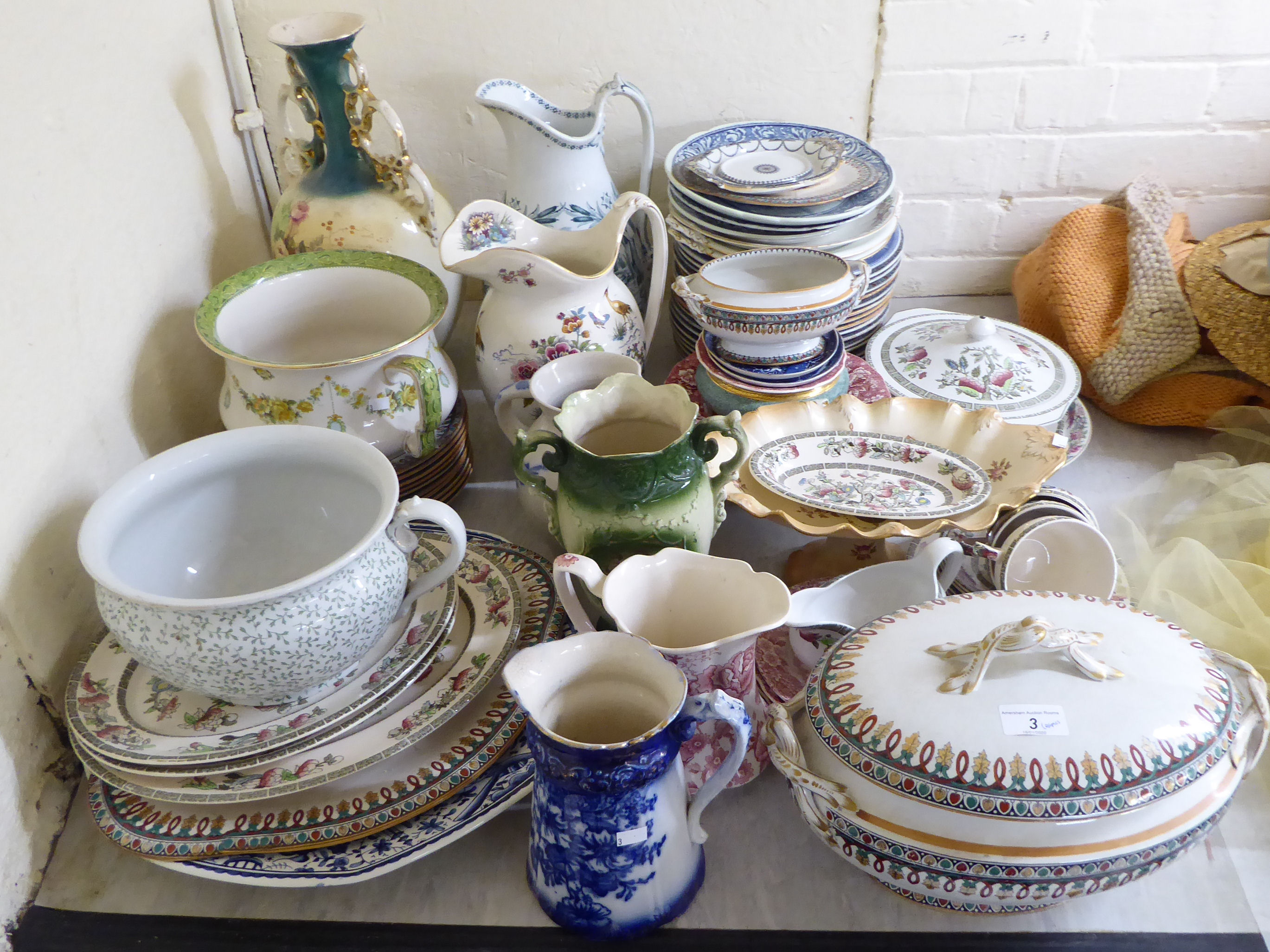 Lot 3 - Victorian and later ceramics: to include a Crown Devon china tazza 4.5''h; and Johnson Bros.
