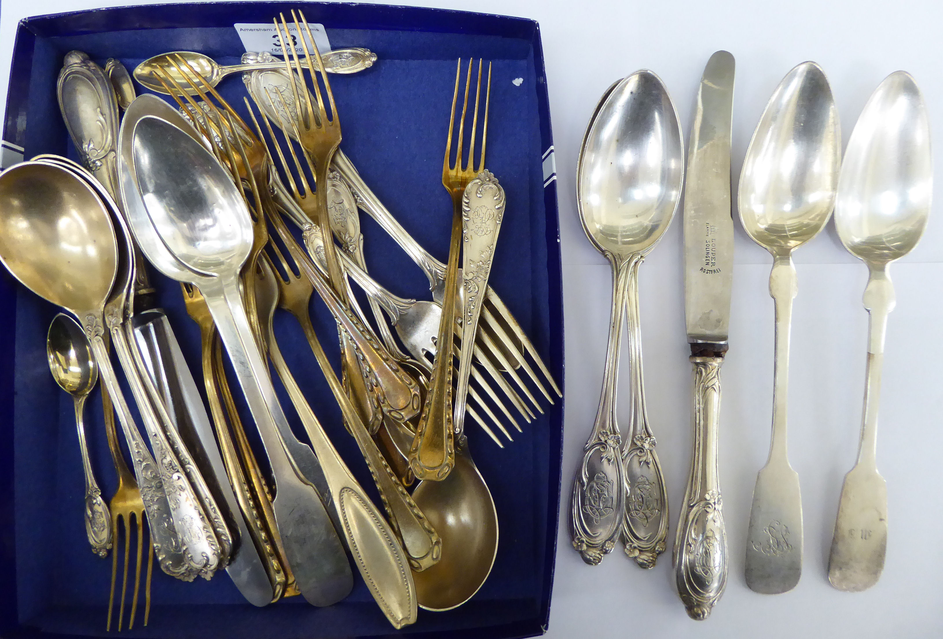 Lot 33 - Late 19th/early 20thC Continental silver coloured metal cutlery and flatware of varying designs