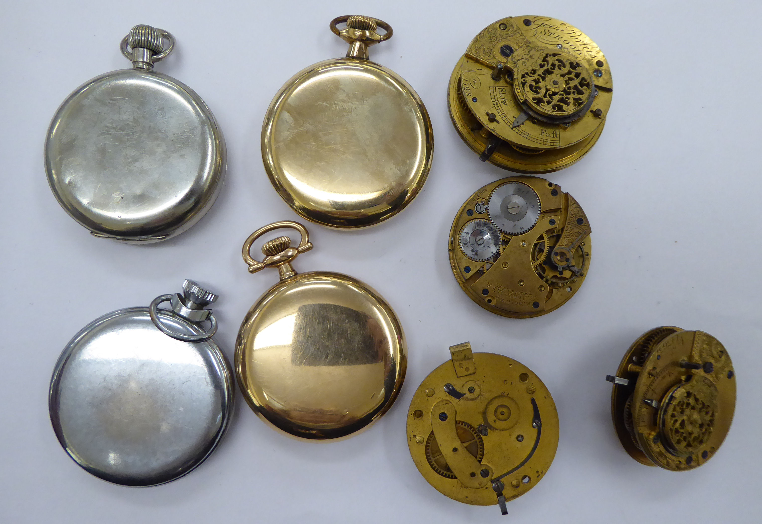 Lot 26 - Eight late 19thC/early 20thC pocket watches and movements with varying enamel dials OS10