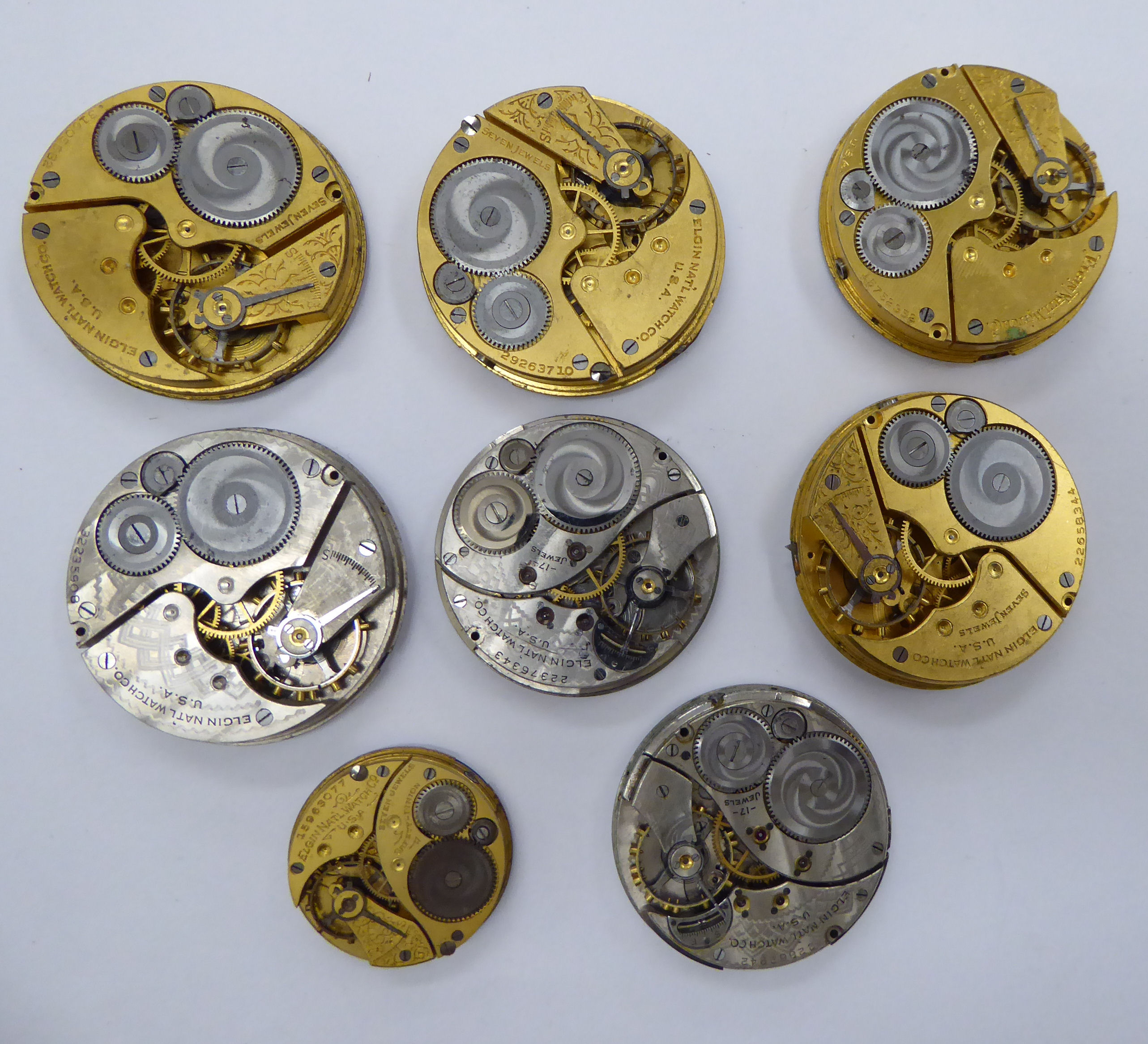 Lot 25 - Eight late 19th/early 20thC pocket watch movements,