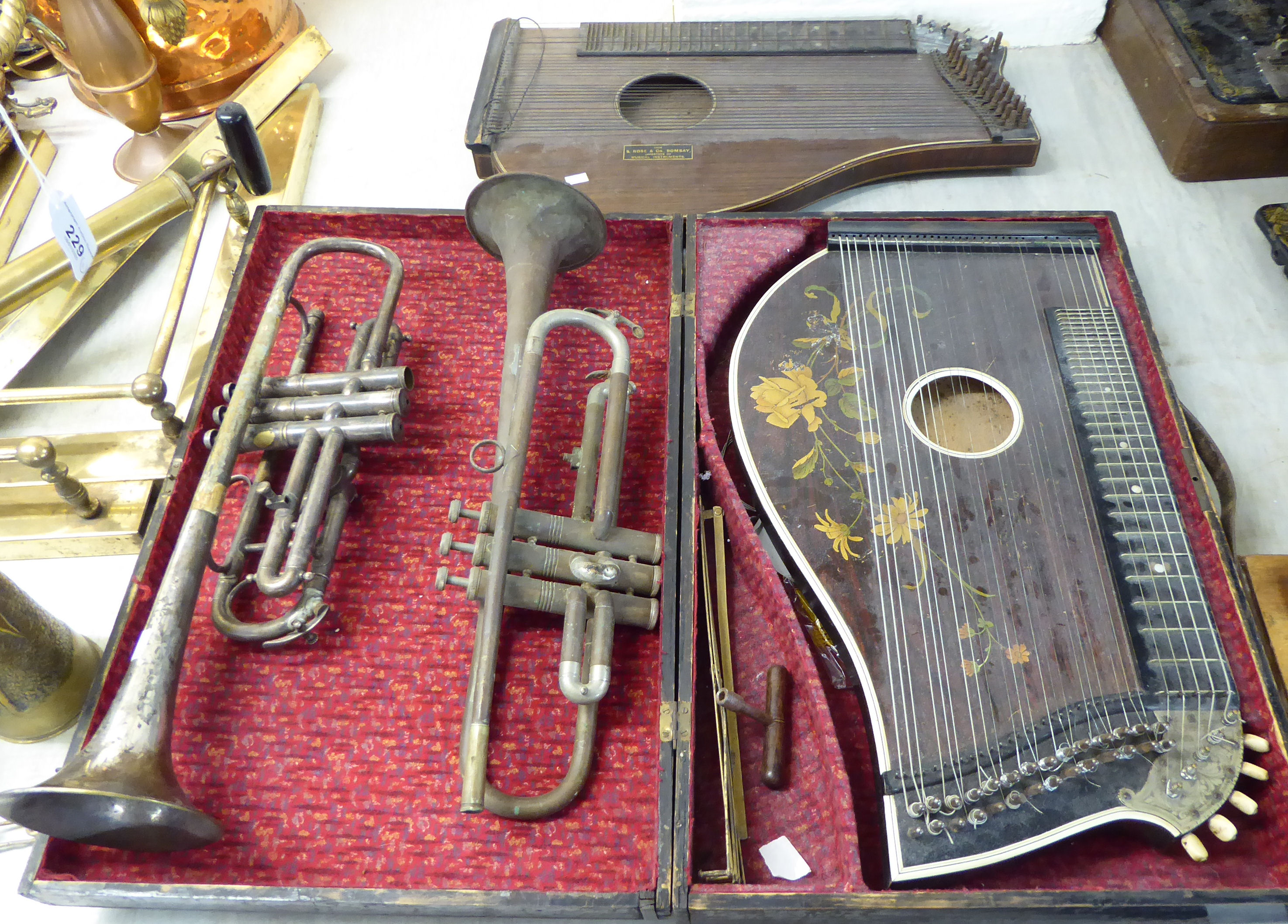 Lot 40 - Musical instruments: to include two bone inlaid rosewood cased zithers;