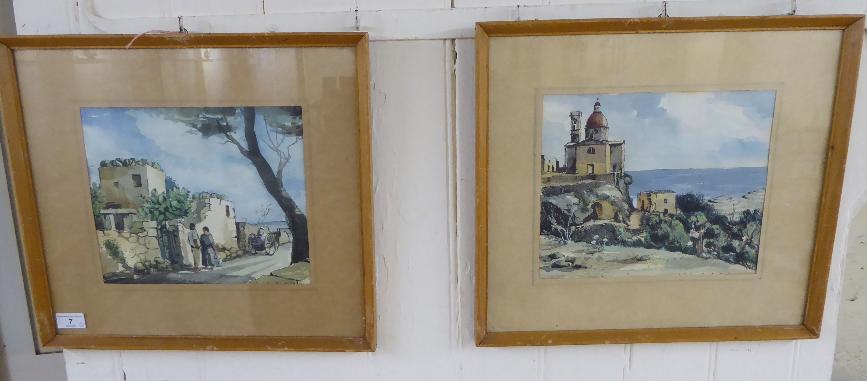 Lot 7 - Eric H Day - two Mediterranean landscapes pen,