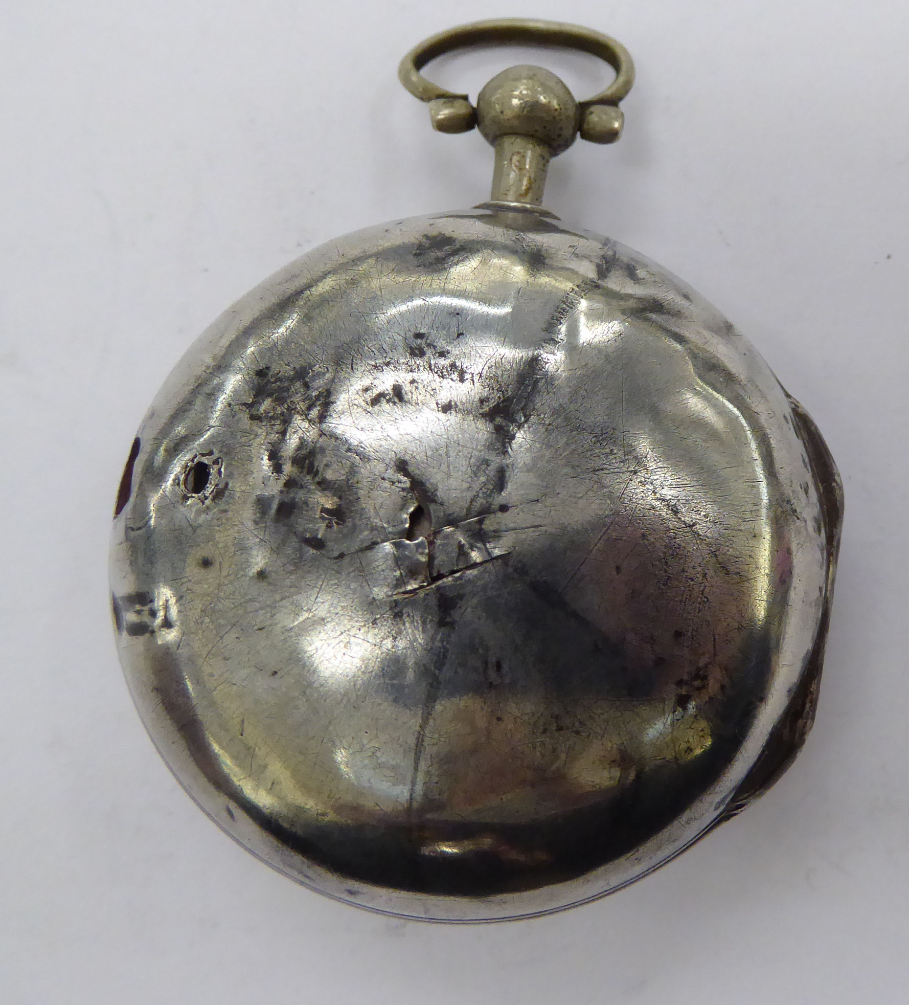 Lot 38 - A George III silver pair cased watch,