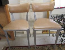 Two 1960s/70s cast metal framed side chairs,