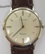 A 1960s Longines Cosmo SM 438, stainless steel cased wristwatch, faced by a baton dial,