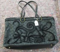 An Anya Hindmarch textured black fabric tote bag OS5