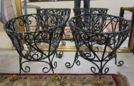 A pair of 20thC black painted wrought iron and wire shallow planters 17''h 16''dia BSR