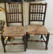 Two early/mid 19thC country made, elm framed bar and spindled back chairs,