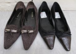 Ladies shoes, viz. two pairs by Prada suede and part leather pumps approx.