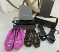 Ladies shoes, viz. five pairs by Gucci in suede/leather approx.