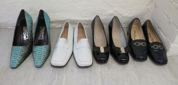 Ladies shoes, viz. four pairs by Salvatore Ferragamo, some with snakeskin effect approx.