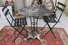 A cast iron and other painted metal pedestal patio table 29''h 29''dia;