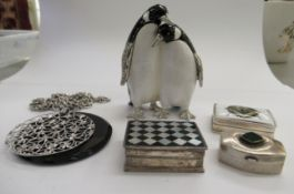 Small collectables: to include a white and black enamelled trinket box,