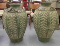 A pair of modern Thai pottery floor vases of tapered,