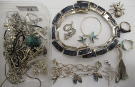 Mostly silver designer jewellery: to include a necklace,