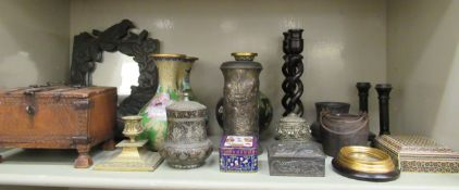 A mixed lot: to include three similar cloisonne vases 8''h;