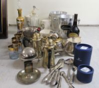 A mixed lot: to include EPNS tableware and Wade china Bombay London Dry Gin promotional wares