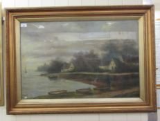 Late 19th/early 20thC European School - a landscape with a lake and cottages beyond oil on canvas