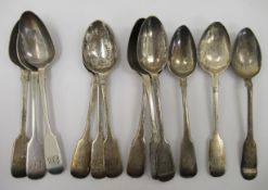Silver fiddle pattern teaspoons mixed marks 11