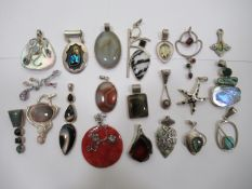Silver mounted pendants,