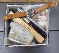 A mixed lot: to include pens, coins,