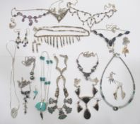 Silver and white metal designer jewellery: to include a bar and bead link enamelled necklace