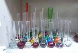 20thC clear and coloured stemmed specimen vases largest 10.