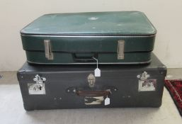 Two similar 'vintage' hard suitcases 7''h 20''w and 7''h 26''w CA