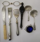A mixed lot: to include lorgnettes; an early 19thC silver caddy spoon; and a silver butter knife,