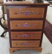 A modern painted pine four drawer dressing chest, raised on bracket feet 42.