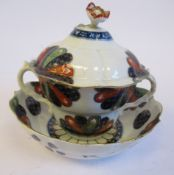 A First Period Worcester porcelain, twin handled cup, stand and cover,