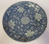 A late 18thC European tin glazed earthenware footed dish,