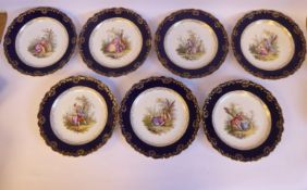 A set of seven late 19th/early 20thC Meissen porcelain wavy edged plates,