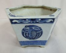 A late 19thC Chinese porcelain hexagonal planter with an inverted rim,