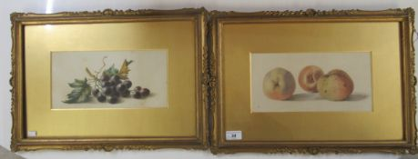 Two late 19th/early 20thC British School - still life studies, fruit watercolours 11.