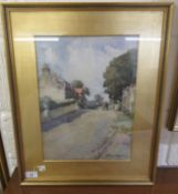 Henry Dobson - a quiet street scene with a horse and cart on a path watercolour bears a signature
