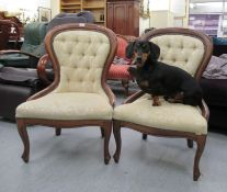 A pair of modern Victorian style stained beech spoonback nursing chairs,