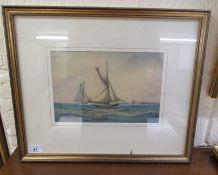 Late 19thC British School - sailing ships on a choppy sea watercolour bears an indistinct