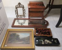 A mixed lot: to include a modern miniature five drawer dressing chest 11''h 12''w;
