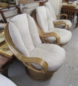 A set of three modern lacquered bamboo effect,