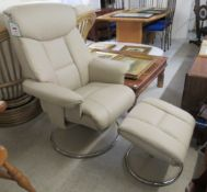 A Global Furniture Alliance recliner armchair, upholstered in cushioned grey hide/pvc,