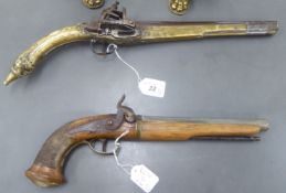 Two late 19thC Persian and other flintlock and percussion duelling pistols CS