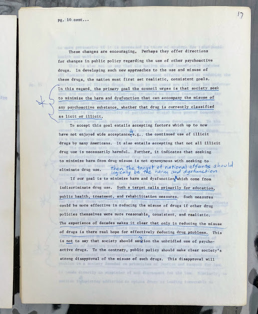 Lot 39 - UNITED STATES. - [DRUG ABUSE COUNCIL (publishers)]. An original typescript draft of the ƒ??Final