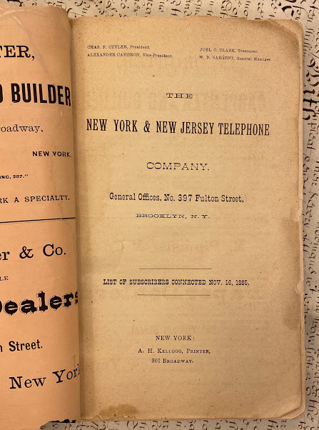 Lot 57 - TELECOMMUNICATIONS Incunable. - A.H. KELLOGG (printer and publisher). The New York & New Jersey