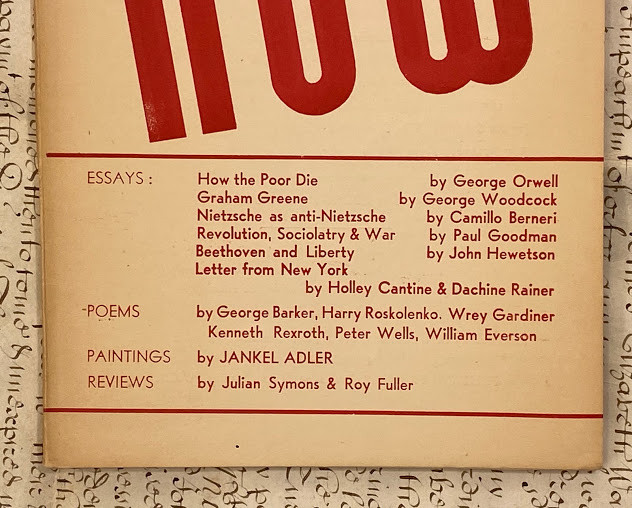 Lot 49 - [Eric Blair] ƒ??George ORWELLƒ?, William EVERSON and others ƒ?? George WOODCOCK (editor). Now
