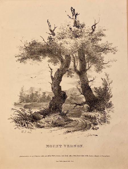 Lot 30 - George WASHINGTON (1732-1799). - Henry INMAN (1801-1846). A lithographed landscape with two trees