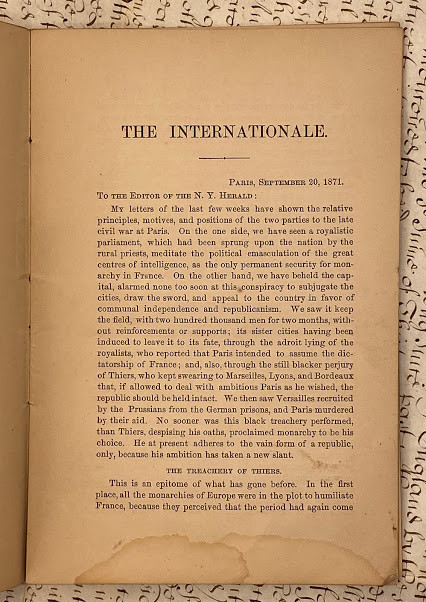 Lot 48 - AMERICAN SOCIALIST in Paris. - George WILKES (1817-1885) The Internationale: Its Principles and