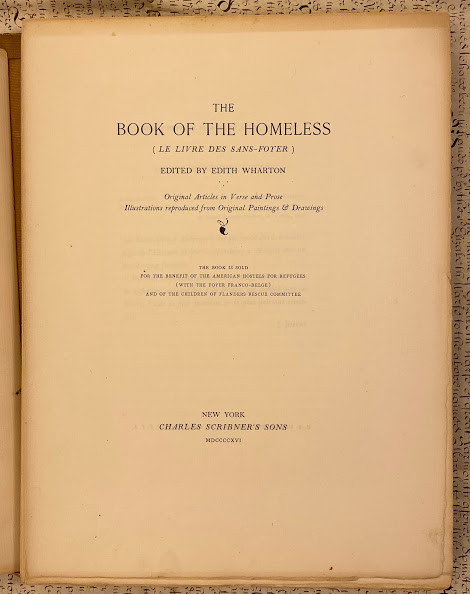 Lot 28 - Edith WHARTON (editor). The Book of the Homeless (Le Livre des Sans-Foyer) edited by Edith